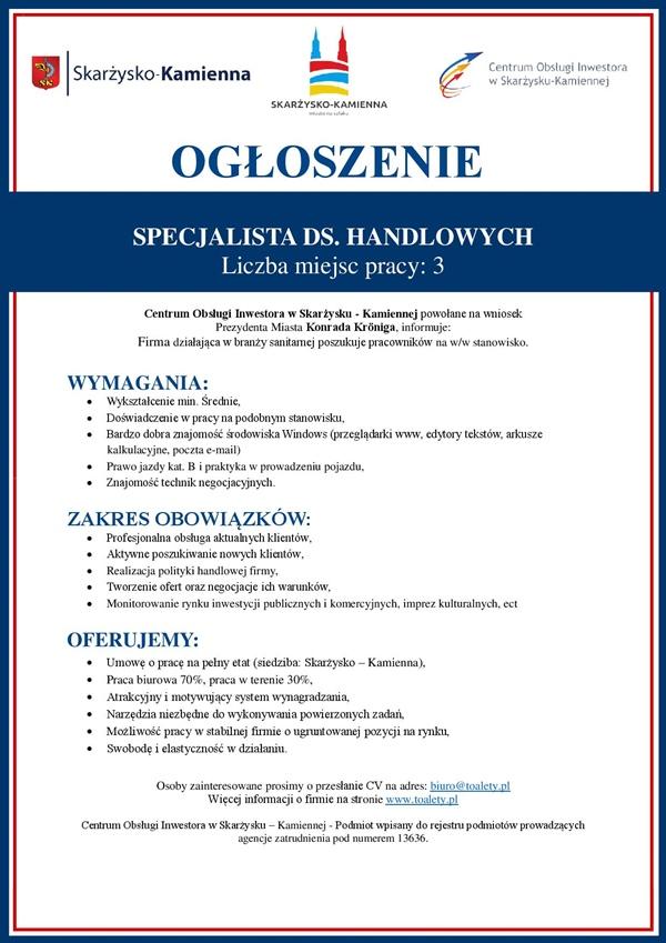 Toalety.pl - praca - specjalista ds. handlowych - Skarżysko-Kamienna