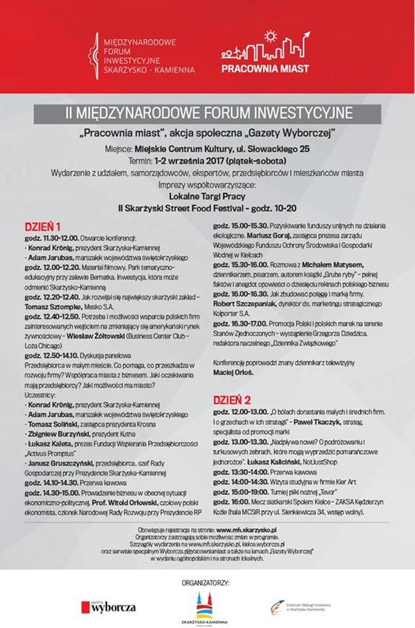 II Międzynarodowe Forum Inwestycyjne Skarżysko 2017